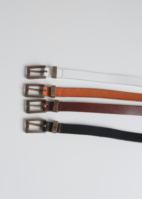SQUARE KNUCKLE THIN BELT(WHITE, CAMEL, BROWN, BLACK 4COLORS!)