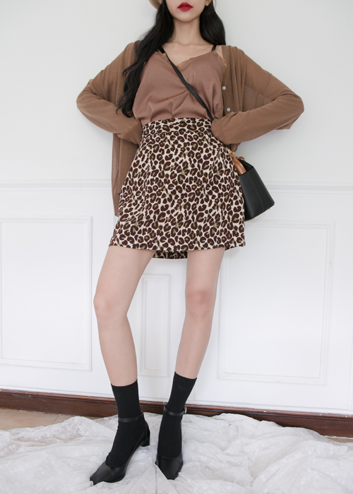 LEOPARD A-LINE SKIRT(BROWN, BLACK 2COLORS!)