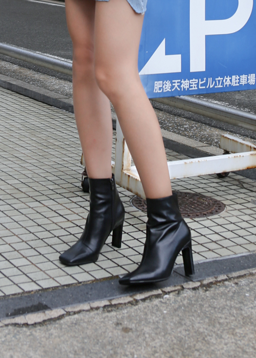 SQUARE TOE LEATHER ANKLE BOOTS(IVORY, BROWN, BLACK 3COLORS!)