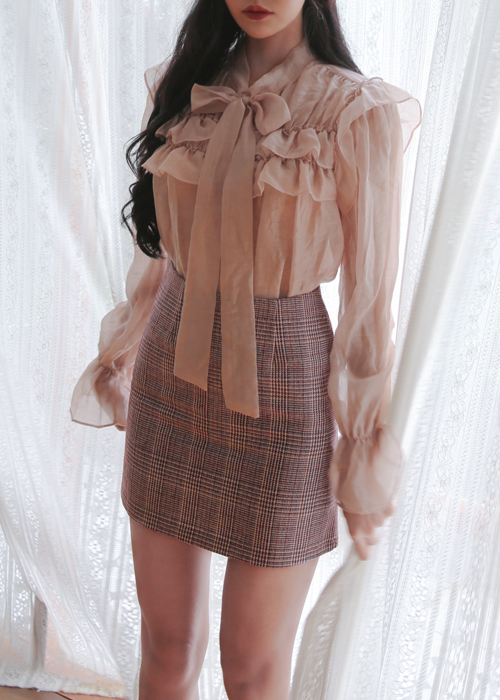 SEE-THROUGH RIBBON TIE FRILL BLOUSE(IVORY, PEACH, SKY BLUE, BLACK 4COLORS!)