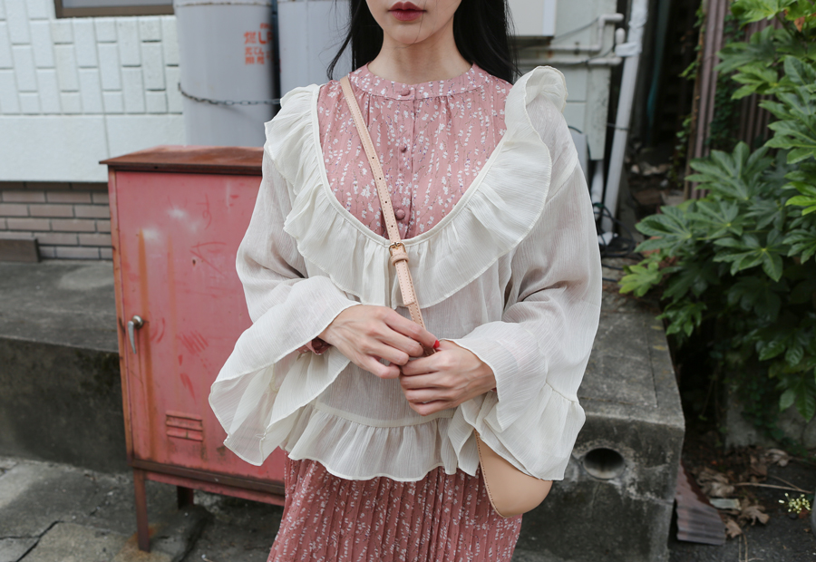 SEE-THROUGH RUFFLE BLOUSE(IVORY, PINK, BRICK 3COLORS!)