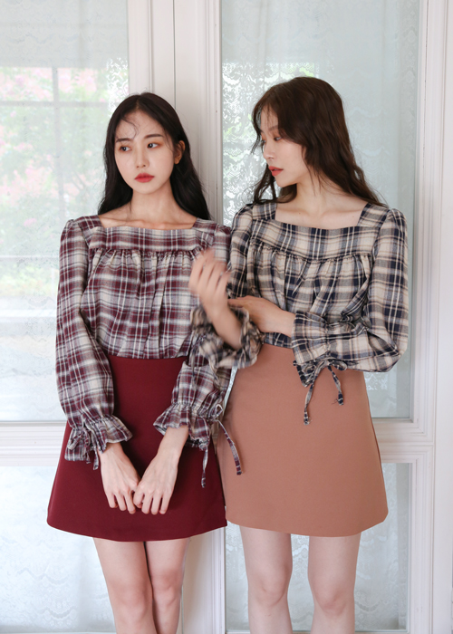 SQUARE NECK CHECK BLOUSE(BURGUNDY, GREEN, NAVY 3COLORS!)