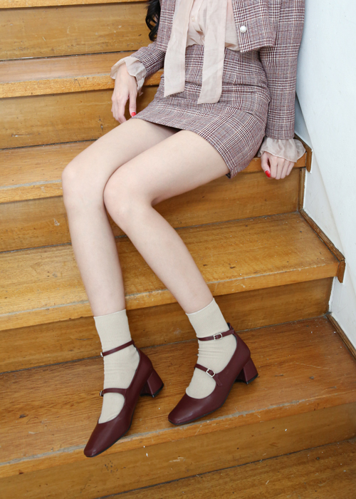 LEATHER TWO STRAP MARYJANE PUMPS(INDIPINK, BURGUNDY, CAMEL, BLACK 4COLORS!)
