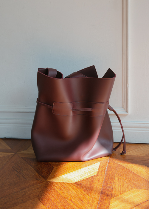 LEATHER BUCKET BAG(BEIGE, BURGUNDY, BROWN, BLACK 4COLORS!)