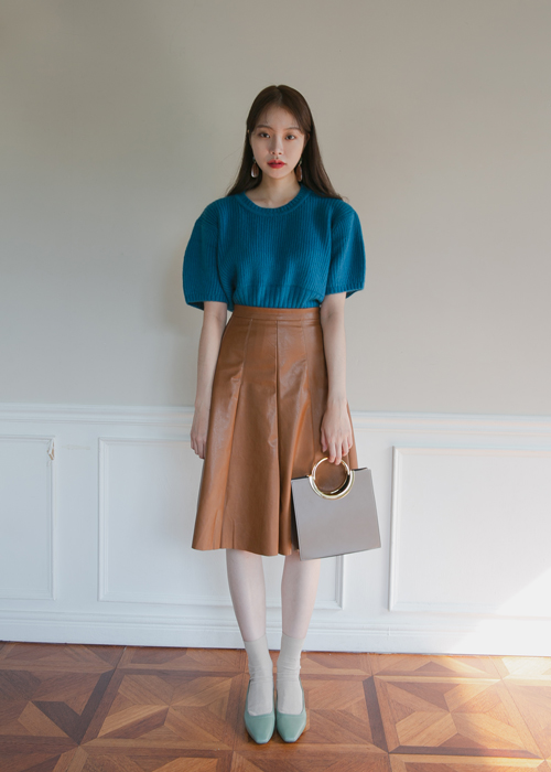 LEATHER FLARE MIDI SKIRT(BROWN, BLACK 2COLORS!)
