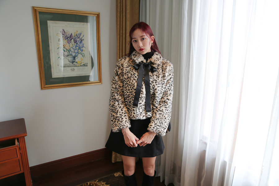 LEOPARD CROP JACKET WITH TIE(IVORY, BROWN 2COLORS!)
