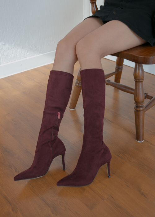 SUEDE THIN HEEL BOOTS(BEIGE, BURGUNDY, BLACK 3COLORS!)