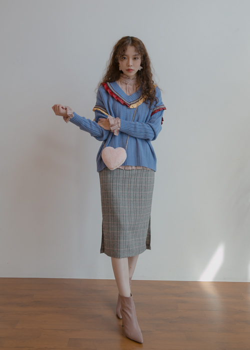 (♥팜므뮤즈 단독진행♥)CLASSIC CHECK MIDI SKIRT(BEIGE, CHARCOAL 2COLORS!)