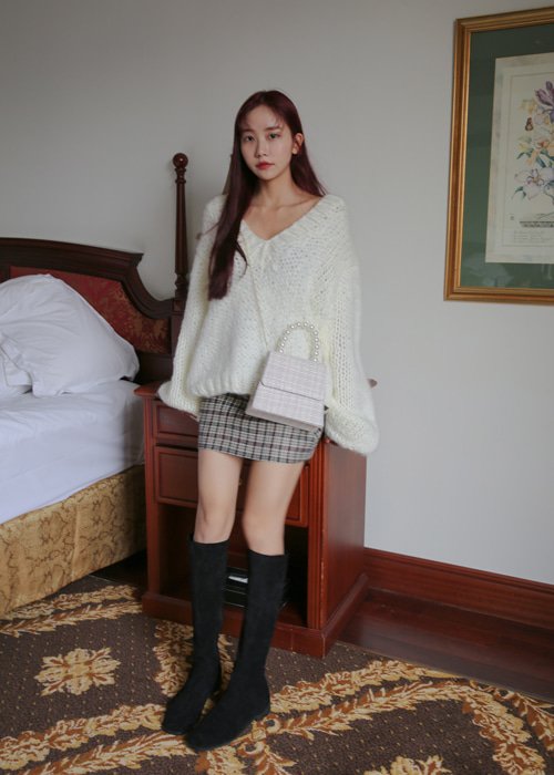 CLASSIC WOOL CHECK SKIRT(BROWN, BLACK 2COLORS!)