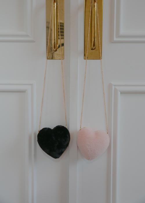 HEART FUR MINI BAG(PINK, BLACK 2COLORS!)