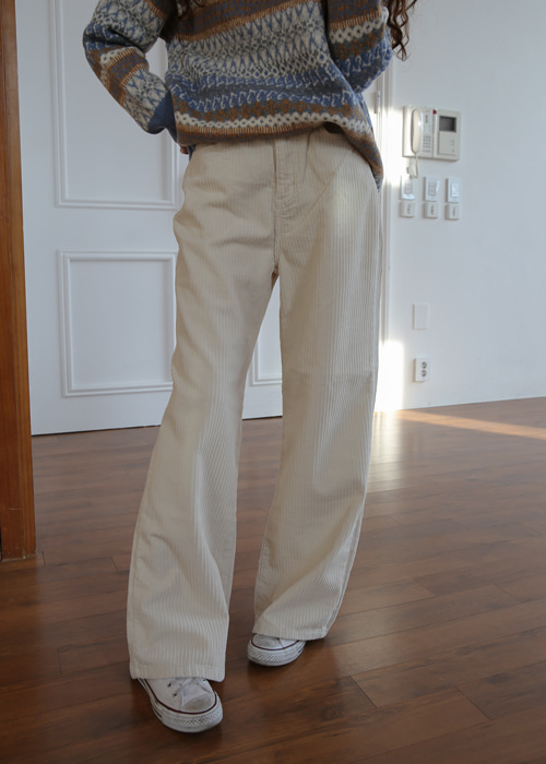 CODUROY WIDE STRAIGHT PANTS(IVORY, PURPLE 2COLORS!)