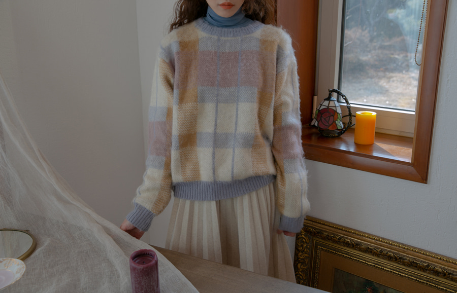 BREAD PASTEL KNIT(BEIGE, SKY BLUE 2COLORS!)