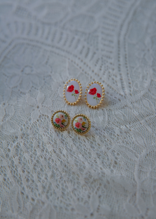 FLOWER ILLUSTRATED EARRING(PINK, RED 2COLORS!)