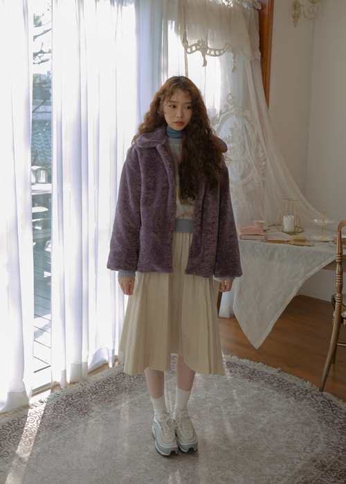(♥팜므뮤즈 단독진행♥)DAILY SOFT FUR JACKET(IVORY, PURPLE 2COLORS!)