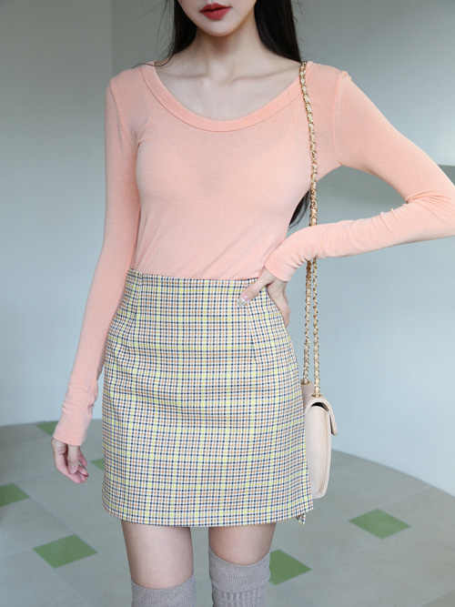 90'S CHECK SKIRT(BEIGE, BLACK 2COLORS!)