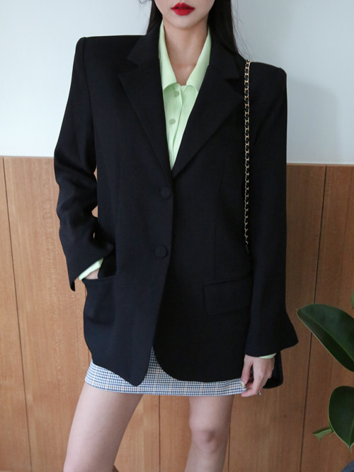 RETRO TWO BUTTON SUIT JACKET(BEIGE, PINK, BLACK 3COLORS!)