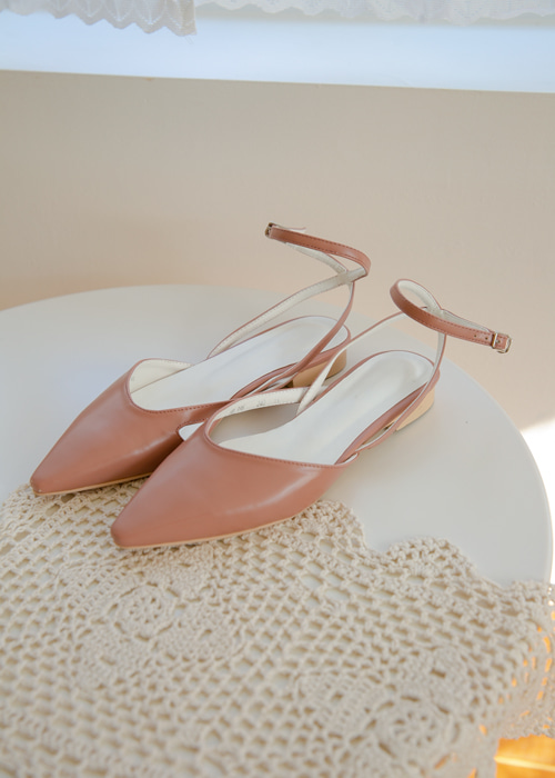 POINTED STRAP FLAT SHOES(WHITE, BEIGE, PINK, BLACK 4COLORS!)