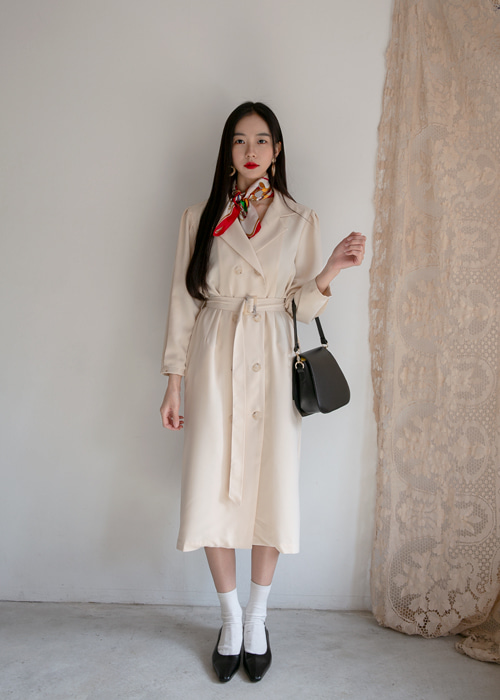 TRENCH SILKY DRESS COAT(IVORY, BEIGE 2COLORS!)