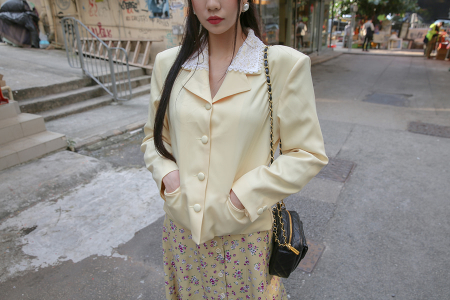 LACE COLLAR RETRO JACKET(YELLOW, BLACK 2COLORS!)