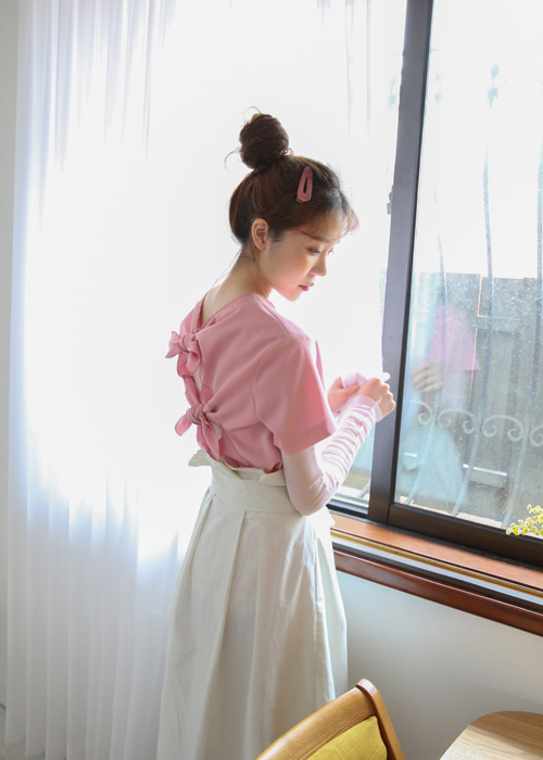 BACK TWO RIBBON BLOUSE(PINK, BLACK 2COLORS!)