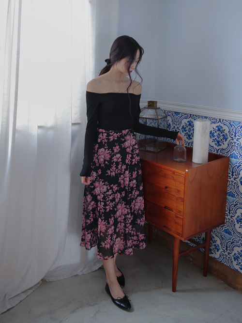 FEMININE ROSE LONG SKIRT(BEIGE, BLACK 2COLORS!)