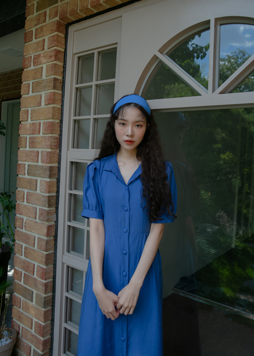 MIDNIGHT SILKY SHIRTS DRESS(BLUE)