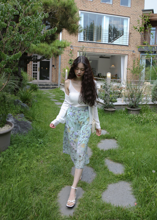 BLESS FLOWER LONG SKIRT(IVORY, MINT, NAVY 3COLORS!)