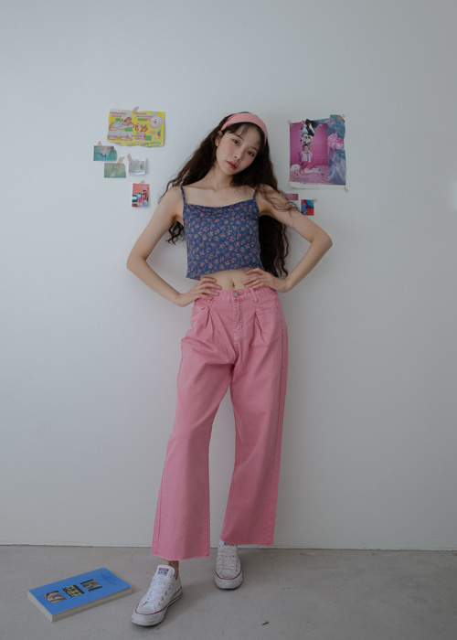 SEMI STRAIGHT PANTS(WHITE, PINK 2COLORS!)