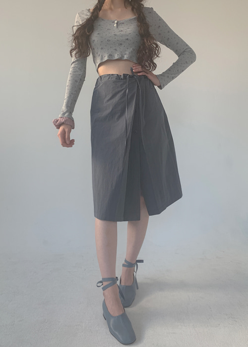 SAND WRAP TIE BUTTON SKIRT(BLUE GREY, BLACK 2COLORS!)