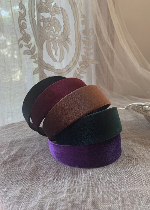 VELVET HAIR BAND(BURGUNDY, PURPLE, GREEN, BROWN, BLACK 5COLORS!)