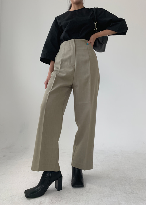 HIGHWAIST SEMI SLACKS(BEIGE, KHAKI, BLUISH GREEN, BLACK 4COLORS!)