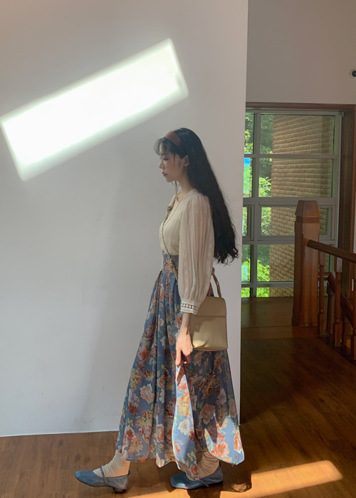 (♥팜므뮤즈 단독진행♥)AUTUMN ROSE CHIFFON SKIRT(SKY BLUE, BLACK 2COLORS!)