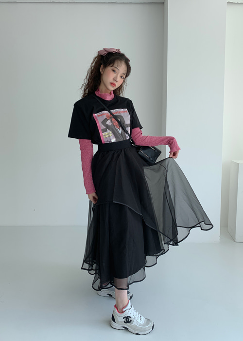SEE-THROUGH MESH LONG SKIRT(GREY, BLACK 2COLORS!)