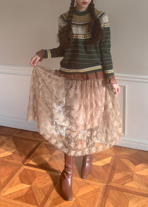 ROSA LACE BANDING SKIRT(BEIGE, BLACK 2COLOR!)