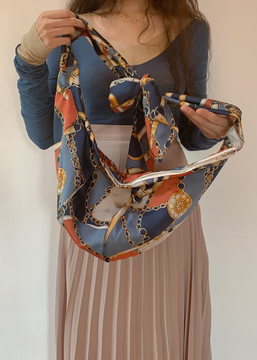 SILKY SCARF BAG(KHAKI, NAVY, BROWN 3COLORS!)