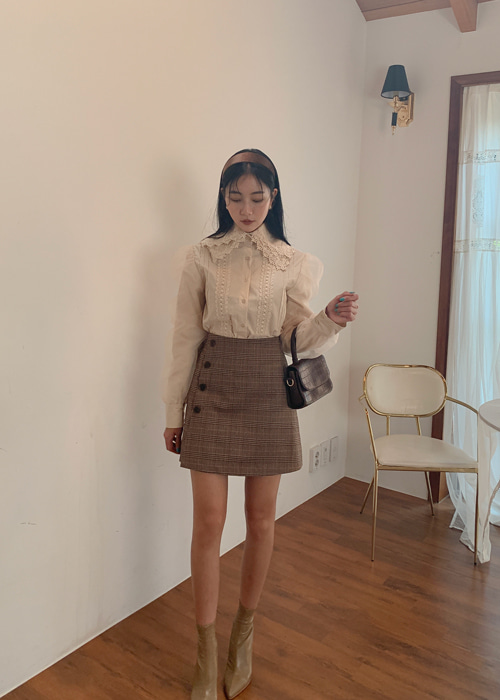 CLASSIC A-LINE CHECK SKIRT(BEIGE, BROWN 2COLORS!)