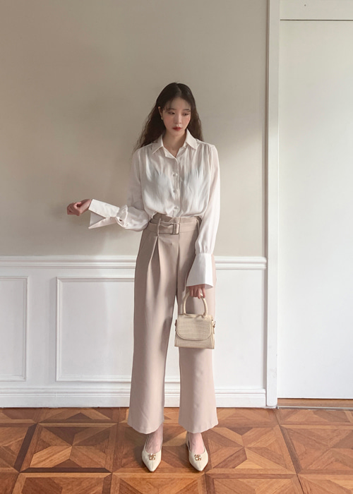 HIGHWAIST BELTED WIDE PANTS(BEIGE, BLACK 2COLORS!)