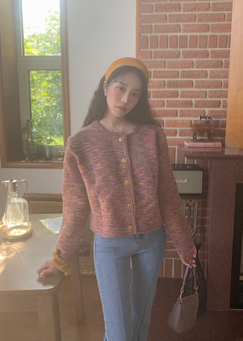 ANTIQUE GOLD BUTTON CARDIGAN JACKET(RAINBOW)