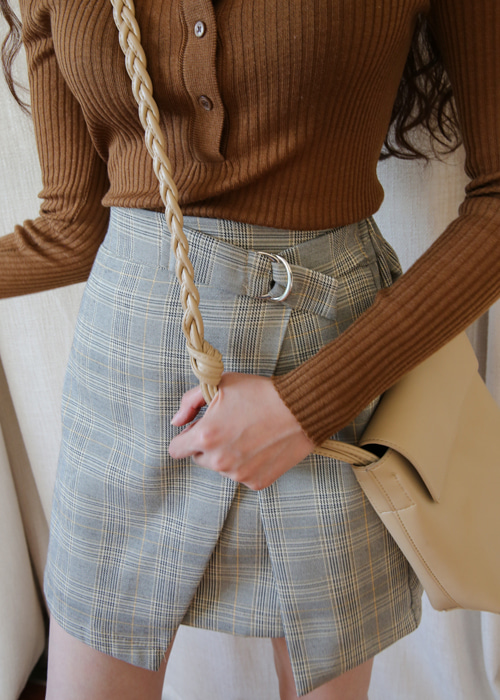 CHECK WRAP MINI SKIRT(BROWN, BLACK 2COLORS!)