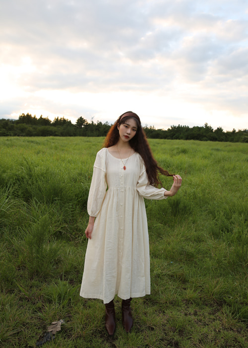 COTTON BUTTON LONG DRESS