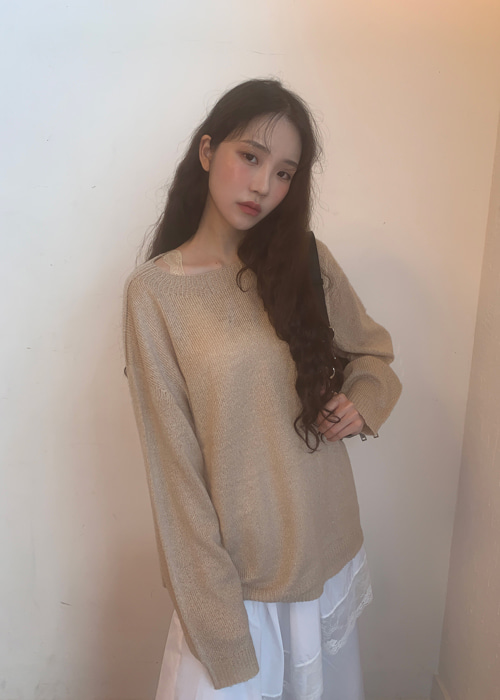 WOOL SOFT LOOSE KNIT(BEIGE, PINK, MINT, SKY BLUE, BLACK 5COLORS!)