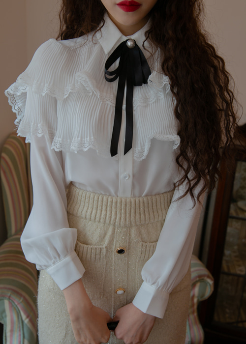 ALICE PLEATS RIBBON BLOUSE(IVORY, BLACK 2COLORS!)