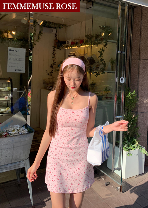 ❀FEMMEMUSE ROSE❀ LODEUR FLORET SQUARE NECK SLIP DRESS(PINK)
