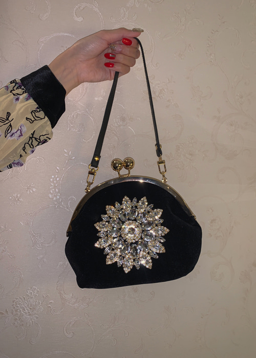 VINTAGE SWAN JEWEL BAG(RED, BLUE, PURPLE, BLACK 4COLORS!)