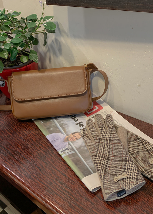 SQUARE LEATHER CROSS BAG(CAMEL, BROWN, BLACK 3COLORS!)