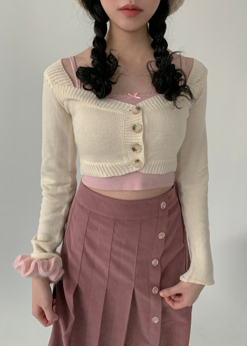 BABY KNIT CROP CARDIGAN(BEIGE, PINK 2COLORS!)