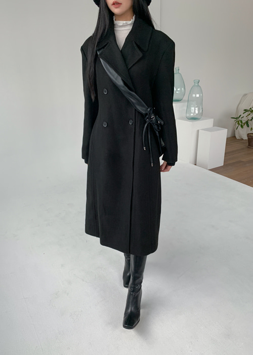 WOOL DOUBLE LINE COAT(BROWN, BLACK 2COLORS!)