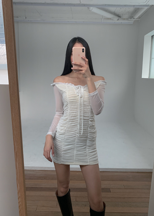 SEE-THROUGH MESH LACE-UP DRESS(WHITE, BLACK 2COLORS!)