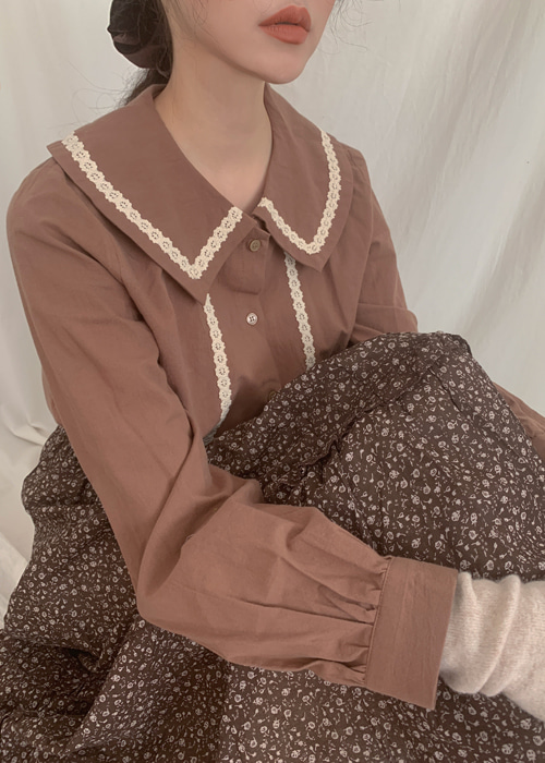 MUFFIN LACE COLLAR BLOUSE(BEIGE, BROWN 2COLOLRS!)
