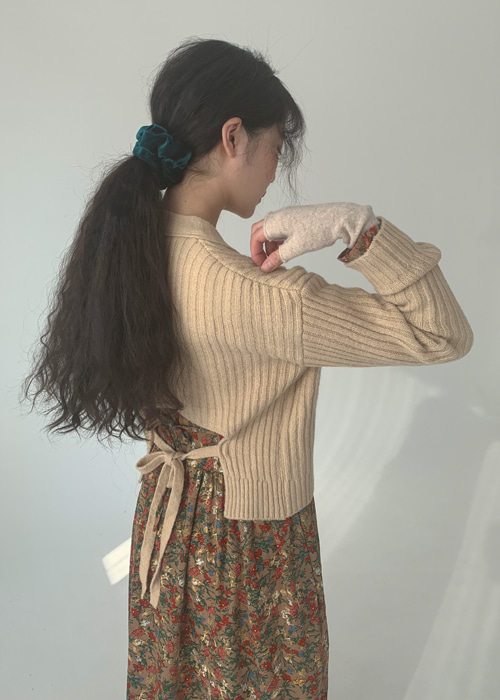 BACK RIBBON KNIT CARDIGAN(BEIGE, ORANGE, BLACK 3COLORS!)